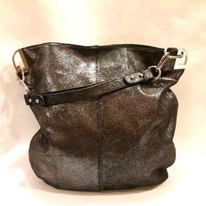 BADGLY MISCHKA Black Silver Metallic Shoulder Bag